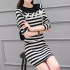 Set: Ribbon Detail Striped Sweater + Knit Skirt 1596