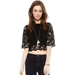 Cropped Short-Sleeve Lace Top 1048537528