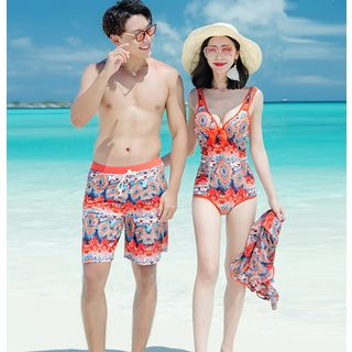 Image of Couple Matching Bikini / Playsuit / Swim Trunks / Set
