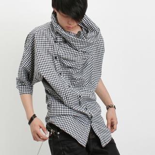 Buy Peeps Diagonal Button-Up Check Turtleneck Shirt 1022283208