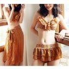 Set: Print Frill Trim Bikini + Cover-Up 1596