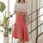 Set: Knit Top + Ruffled Midi Skirt 1596