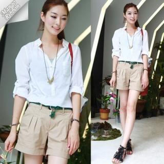 Buy Mango Ribbon Pleated Front Shorts 1022945470