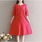 Split-neck Linen Cotton Dress 1596