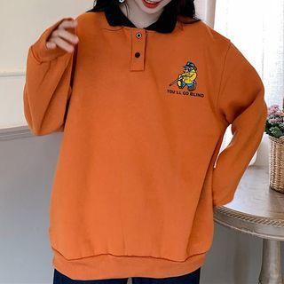 Printed Collared Sweatshirt