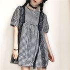 Plaid Short-Sleeve Dress 1596