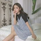 Short-Sleeve T-Shirt / Strappy Floral A-Line Dress 1596
