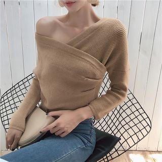 Image of Plain V-Neck Off-Shoulder Sweater