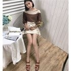 Two-Tone Elbow-Sleeve Blouse / Tie-Waist A-Line Skirt 1596