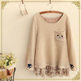 Animal Chiffon Panel Knit Top 1046479582