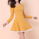 Long-Sleeved Lace Trim A-Line Dress 1596