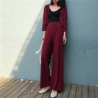 Set: Cropped Cardigan + Wide Leg Pants 1065537085