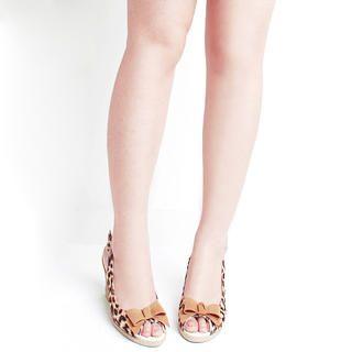 "Buy KAWO Leopard Print ""Bow"" Slingback Wedges 1022918553"
