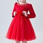 Kids Embellished Lace Panel Long-Sleeve Tulle Dress 1596