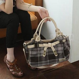 Buy SkyBlue Bow Drawstring Plaid Satchel Grey 1023037885