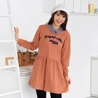 Embroidered Collared Long-Sleeve Dress 1596