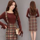 Set: Tie Cuff Long Sleeve Knit Top + Plaid Suspender Skirt 1596