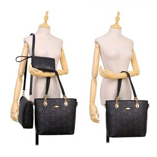 Set of 3: Faux-Leather Printed Tote + Cross Bag + Pouch 1057045096