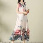 Floral Print Sleeveless Maxi Dress 1596