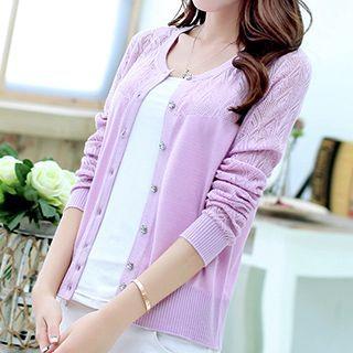 Lace Knitting Panel Cardigan 1050377769