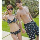 Couple Matching Set: Printed Bikini + Cover-Up / Printed Swim Shorts 1596