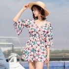 Set: Floral Print Bikini + Cover-Up Dress 1596