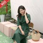 Linen Blend Tie-Waist A-Line Dress 1596