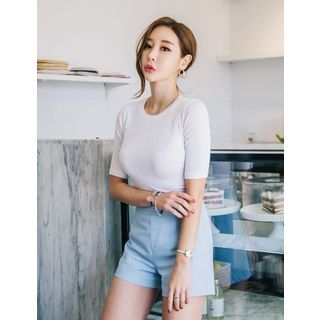 Round-Neck Ribbed Top 1066468751