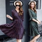 Bell-Sleeve Dotted Dress 1596
