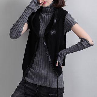Image of Applique Hooded Knit Vest
