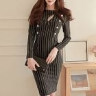 Cutout Double-breasted Long-Sleeve Pinstripe Dress 1596
