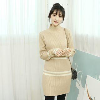 Contrast-Trim High-Neck Ribbed Knit Dress 1055778992