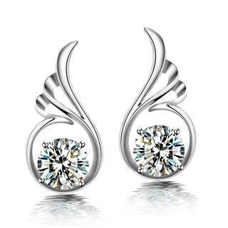925 Sterling Silver Angel Wings with White Swarovski Element Cubic Zircon Stud Earrings