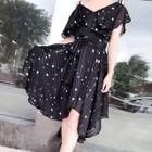 Short-Sleeve A-line Chiffon Dress 1596