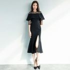 Lace Panel Elbow-Sleeve Sheath Cocktail Dress 1596