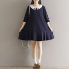 Embroidered Elbow-Sleeve Collared Dress 1596