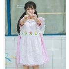 Set: Striped Short Sleeve Collared Dress + Embroidered Pinafore Dress 1596