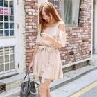 Off-Shoulder Elbow-Sleeve Tie-Waist Dress 1596