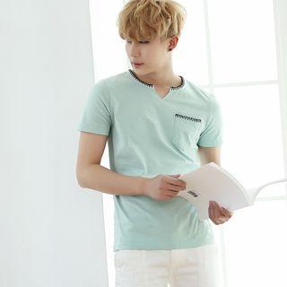 Image of Split-neck Short-Sleeve T-shirt