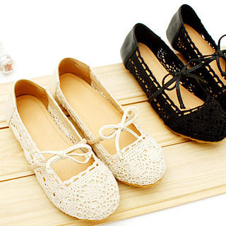 Picture of KAWO Bow Crocheted Mary Jane Flats 1022761261 (Flat Shoes, KAWO Shoes, China Shoes, Womens Shoes, Womens Flat Shoes)