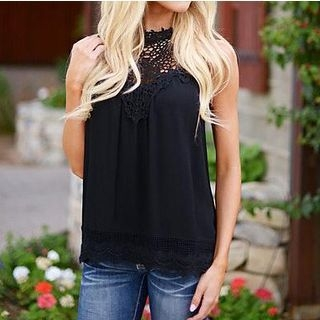 Sleeveless Lace Panel Top 1059619498