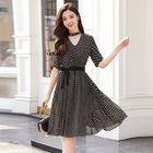 Short-Sleeve Dotted Tie-Waist Dress 1596