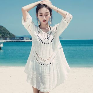 Beach | Cover | White | Lace | Size | One | Up