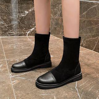 Knit Panel Short Boots