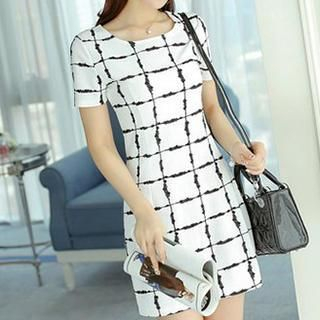 Short-Sleeve Check Sheath Dress