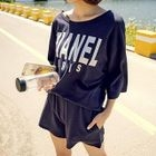 Set: Letter Elbow-Sleeve Top + Shorts 1596