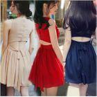 Sleeveless Tie-Waist Cutout Plain Dress 1596