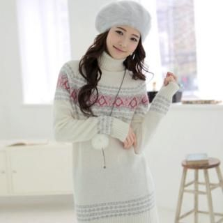 Picture of CLICK Penguin Pattern Turtleneck Knit Dress 1021790914 (CLICK Dresses, Womens Dresses, South Korea Dresses, Turtleneck Dresses)