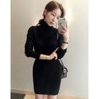 Turtle-Neck Ribbed Dress 1596