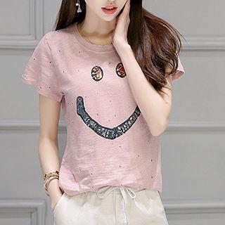 Set: Sequined Short Sleeve T-Shirt + Print Drawstring Waist Capri Pants 1050834427